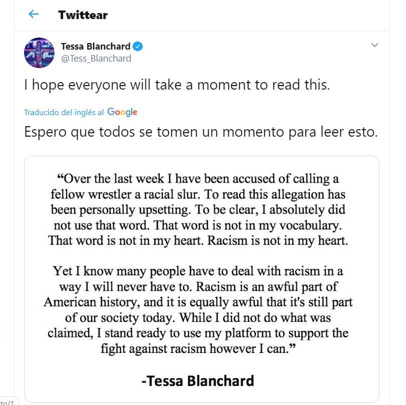 Tessa Blanchard comunicado sobre racismo